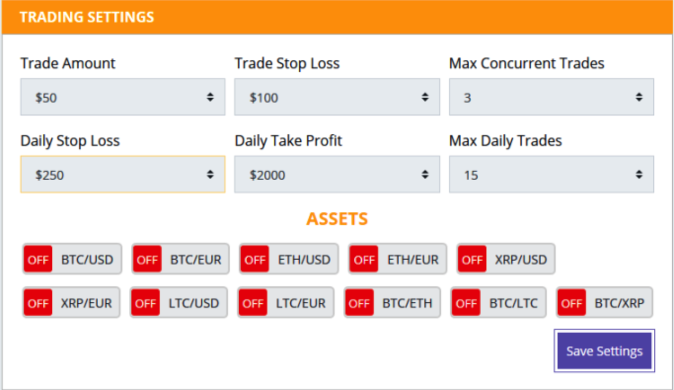 Crypto Group trading settings