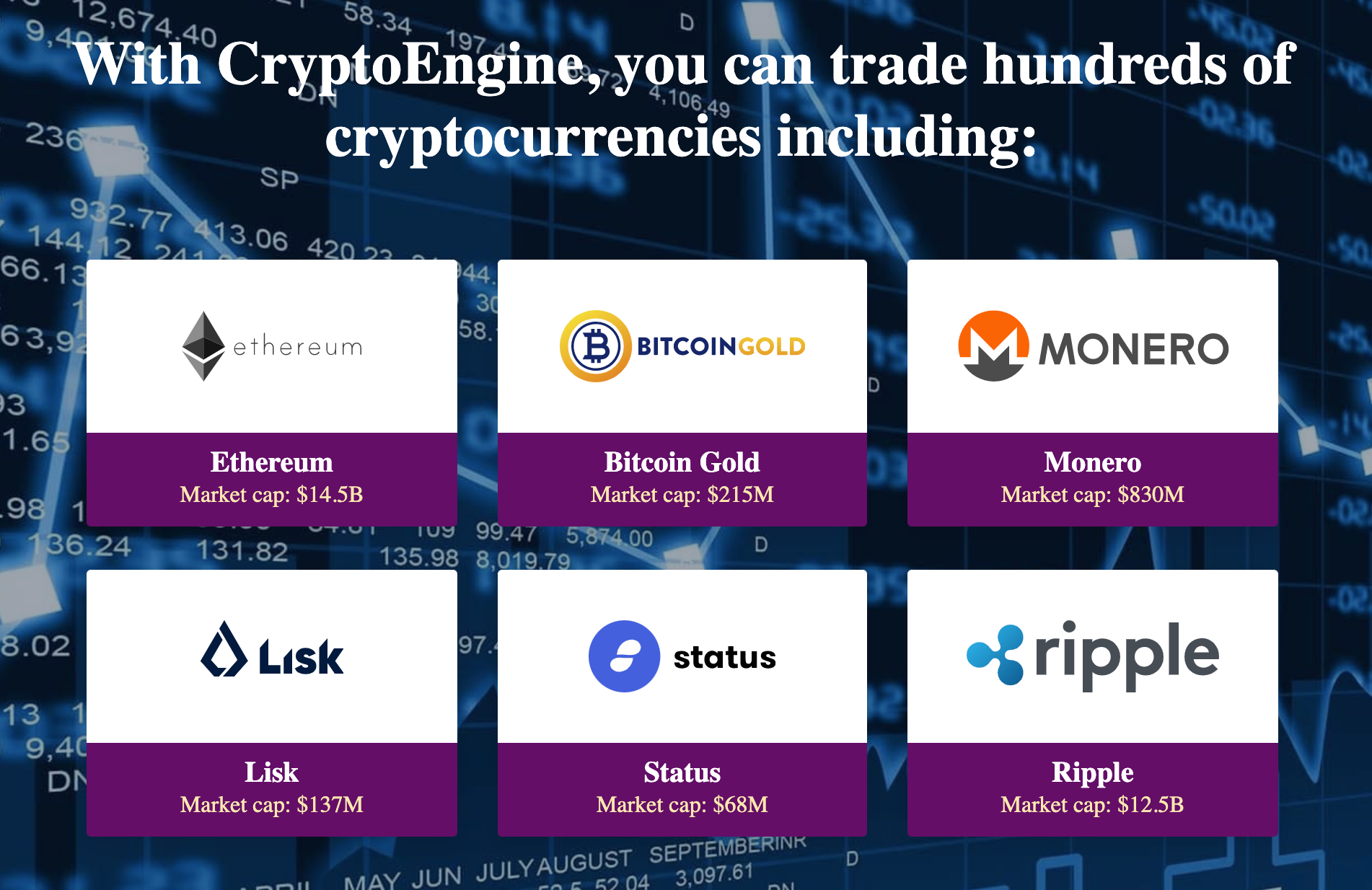 Cryptocurrencies available on Crypto Engine