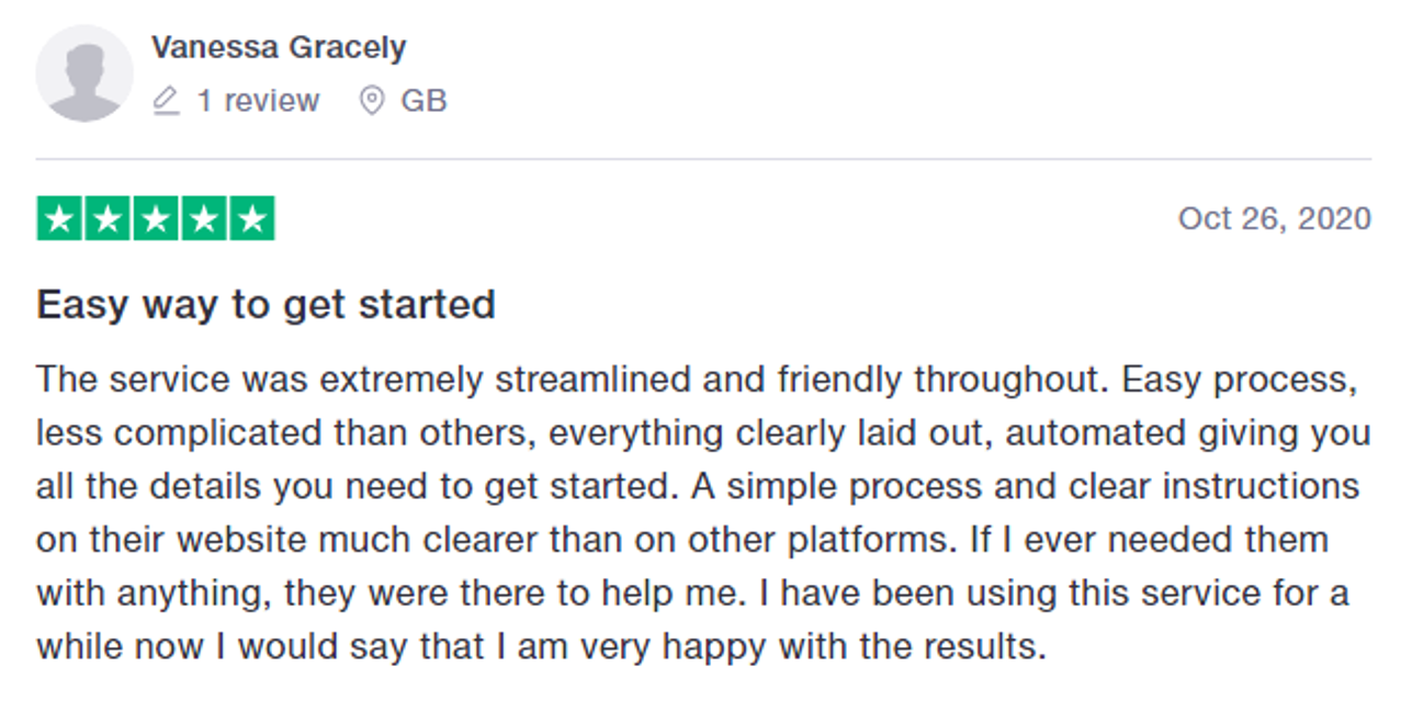 Five-star review of Bitcoin Lifestyle on Trustpilot