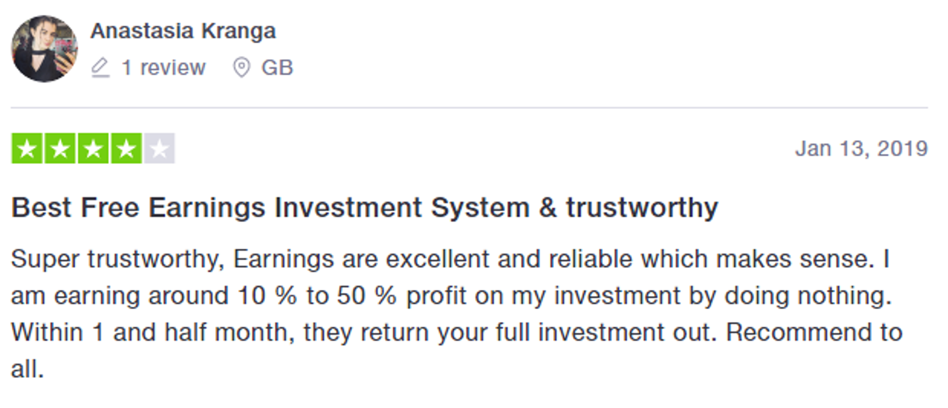 Four-star rating of Crypto Group in Trustpilot