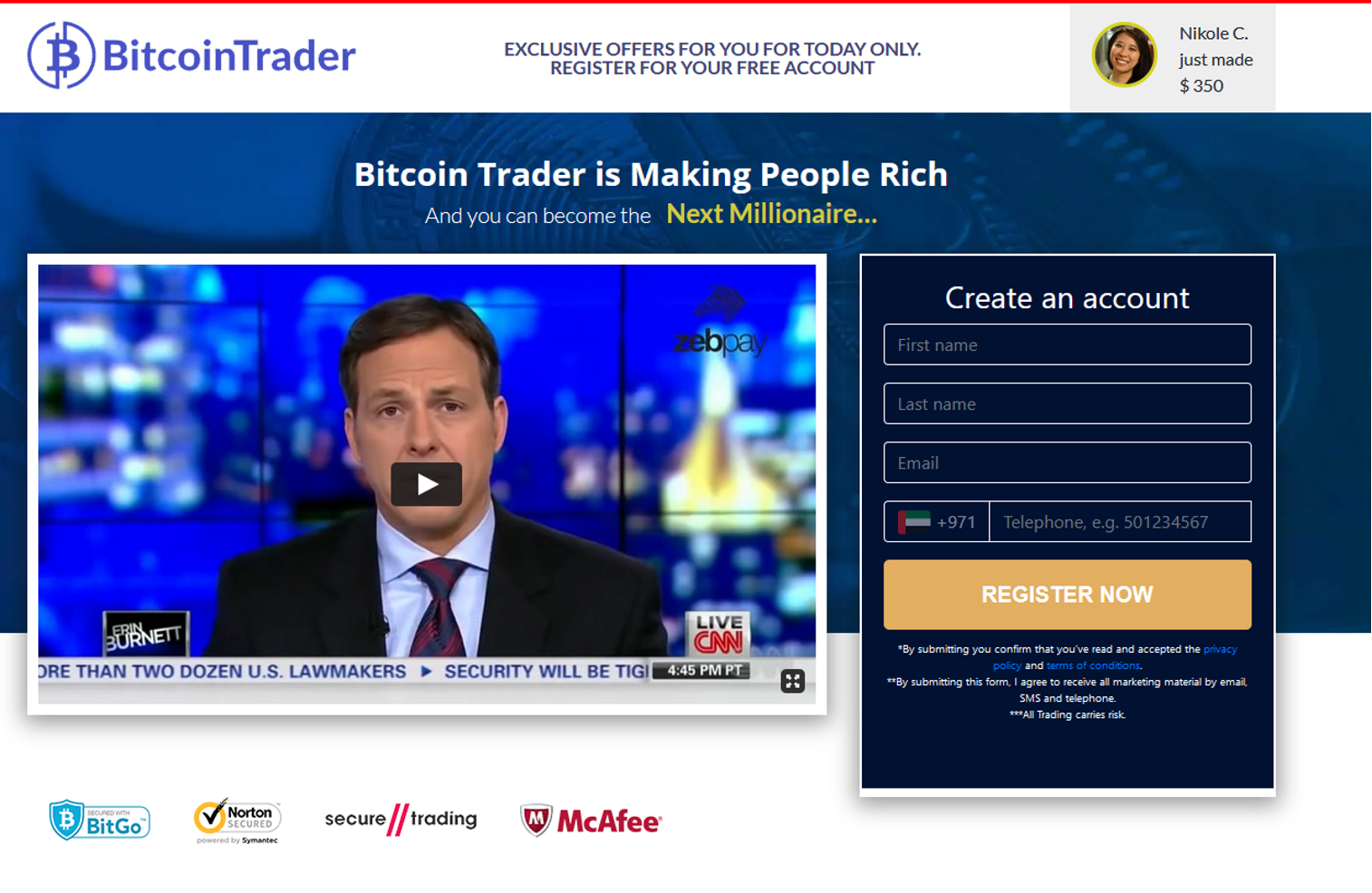 Homepage of Bitcoin Trader site