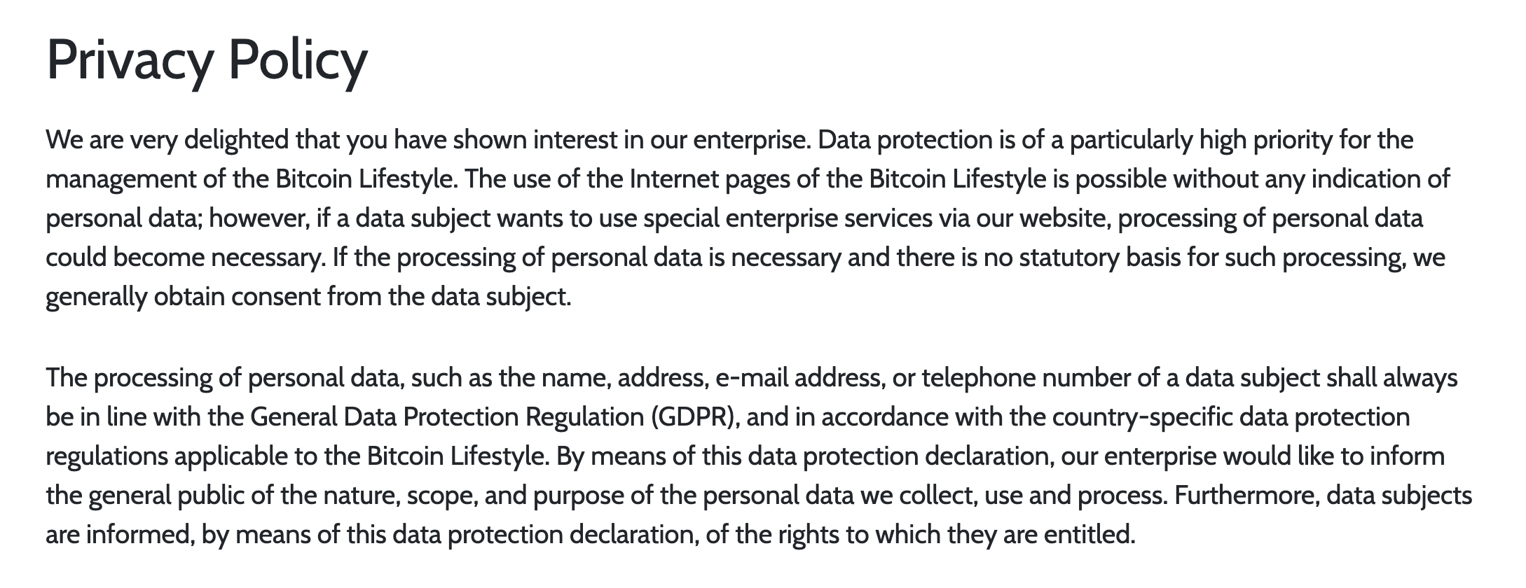 Privacy policy of Bitcoin Lifestyle