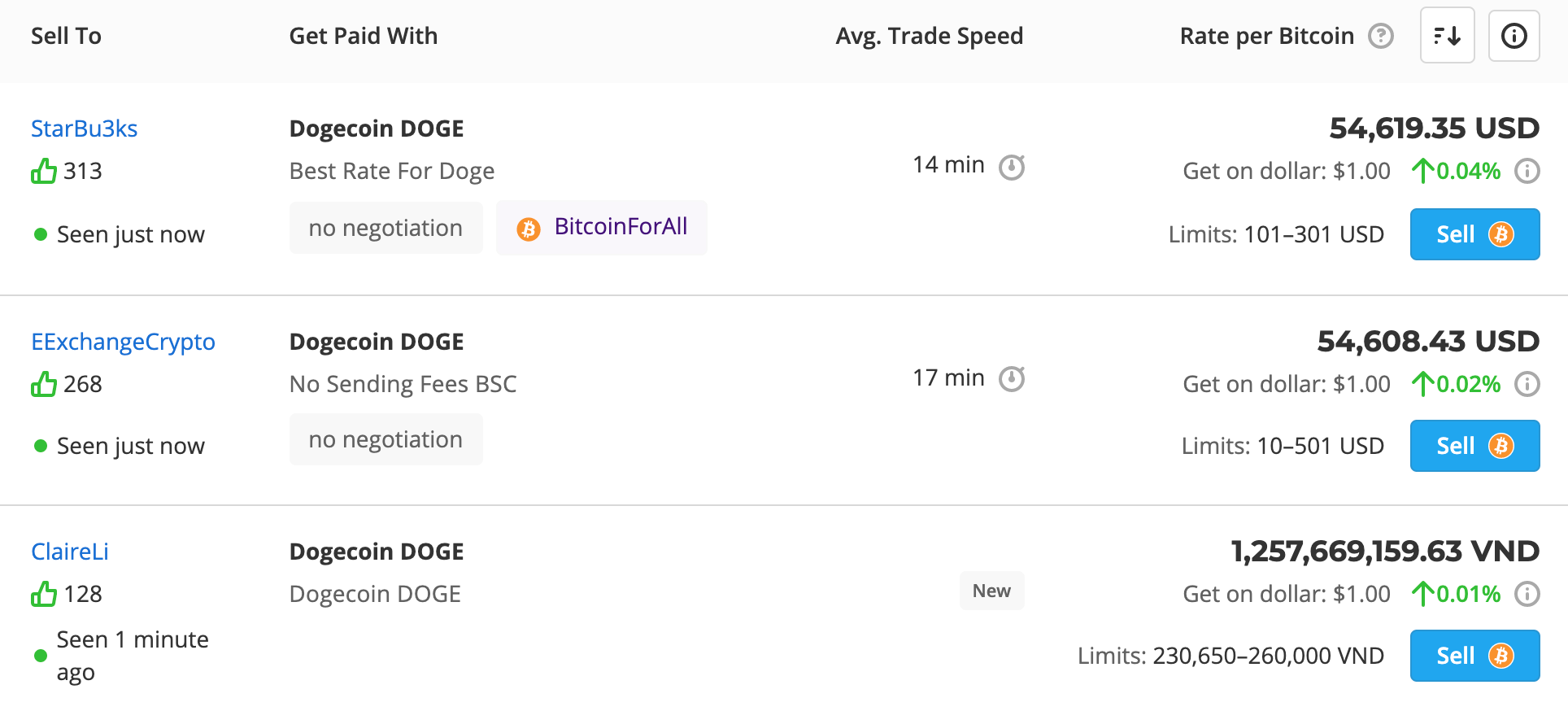 Buying DOGE on Paxful step 3