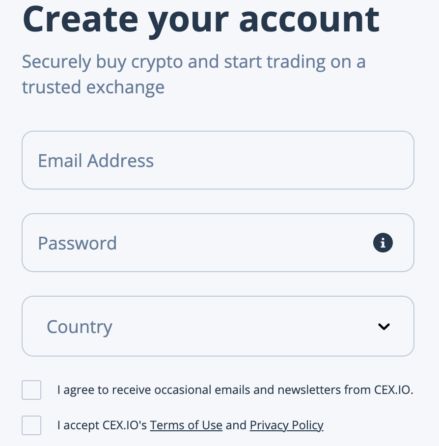 Buying ETH on CEX.IO step 1
