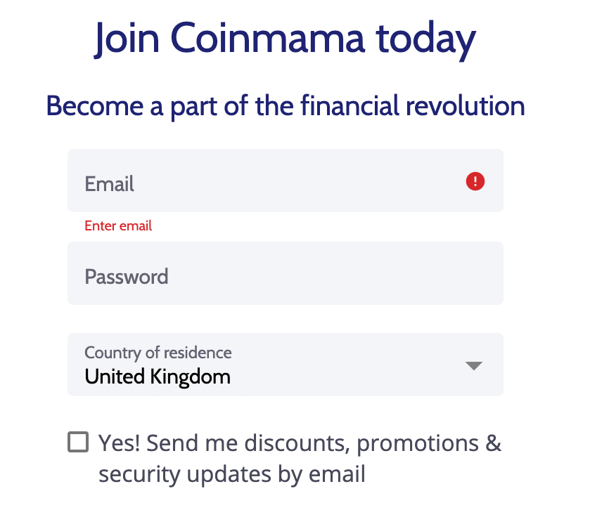 Buying ETH on Coinmama step 1