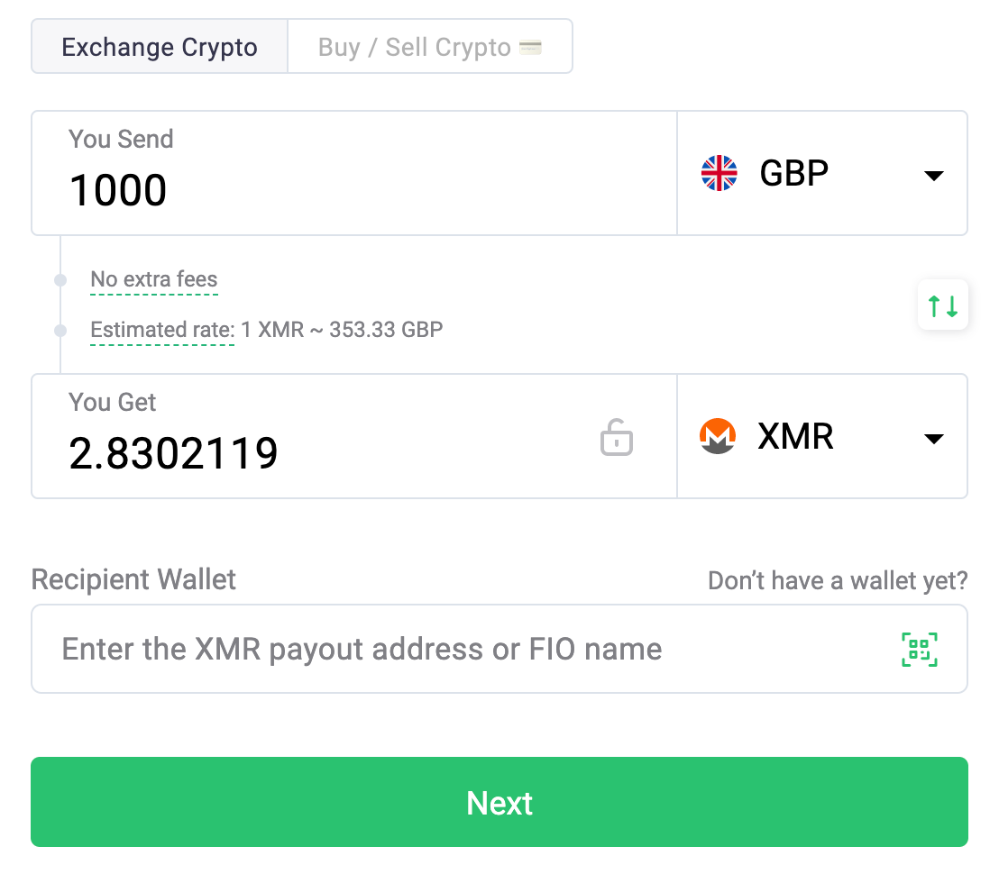 Buying XMR on ChangeNow step 1