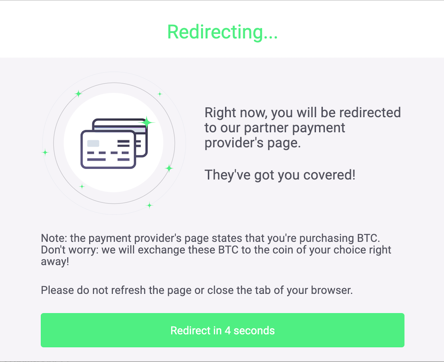 Buying XMR on ChangeNow step 3