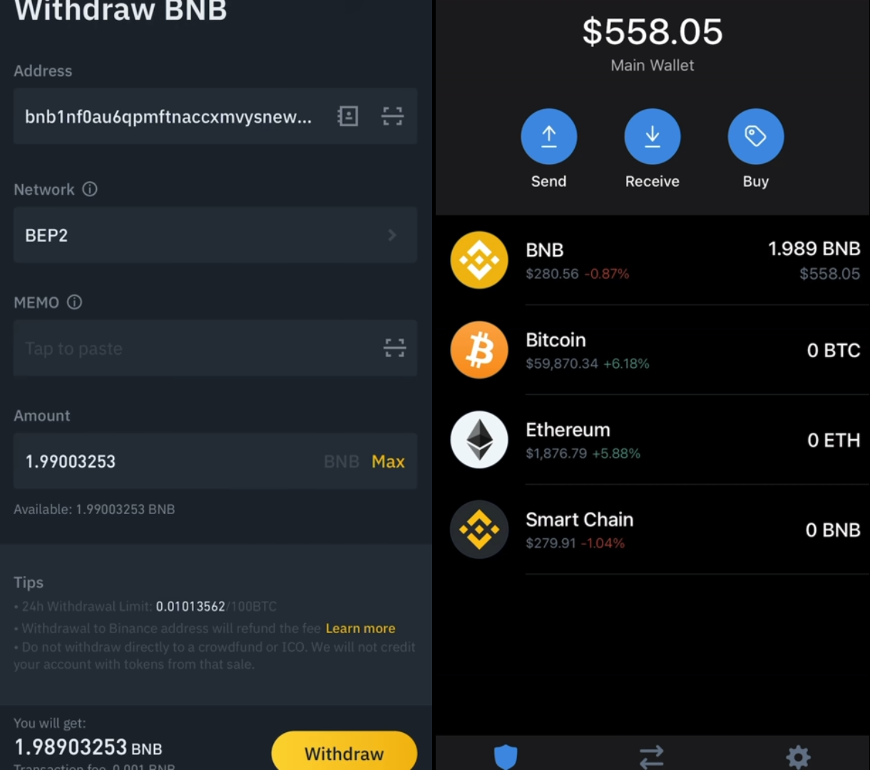 Step 3. Withdraw BNB to the wallet