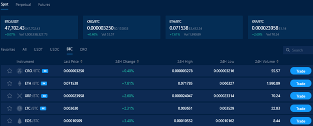 ●More than 100 available crypto pairs