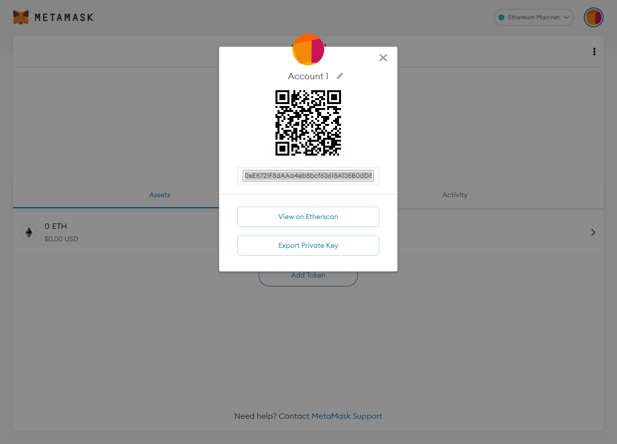 Transferring coins or tokens to MetaMask