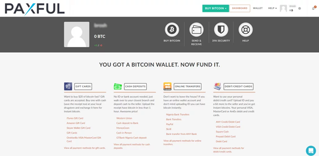 Fund your personal Paxful e-wallet