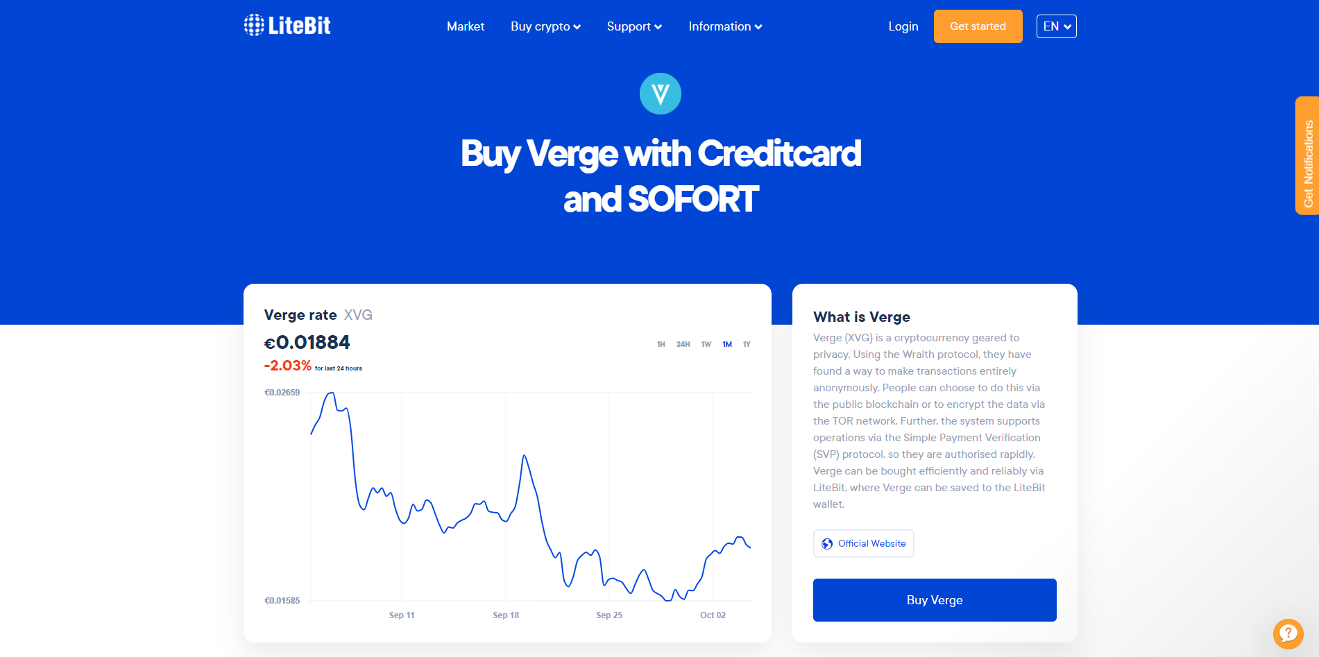 Buying Verge (XVG) for euros on a cryptocurrency exchange